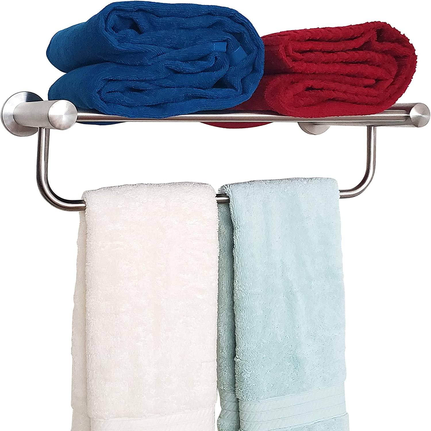 SAFETY+BEAUTY Bathroom Towel Rack, Stainless Steel Constructed Rust-Proof Shelf with Built-in Towel Bar, 16 inches Brushed Nickel