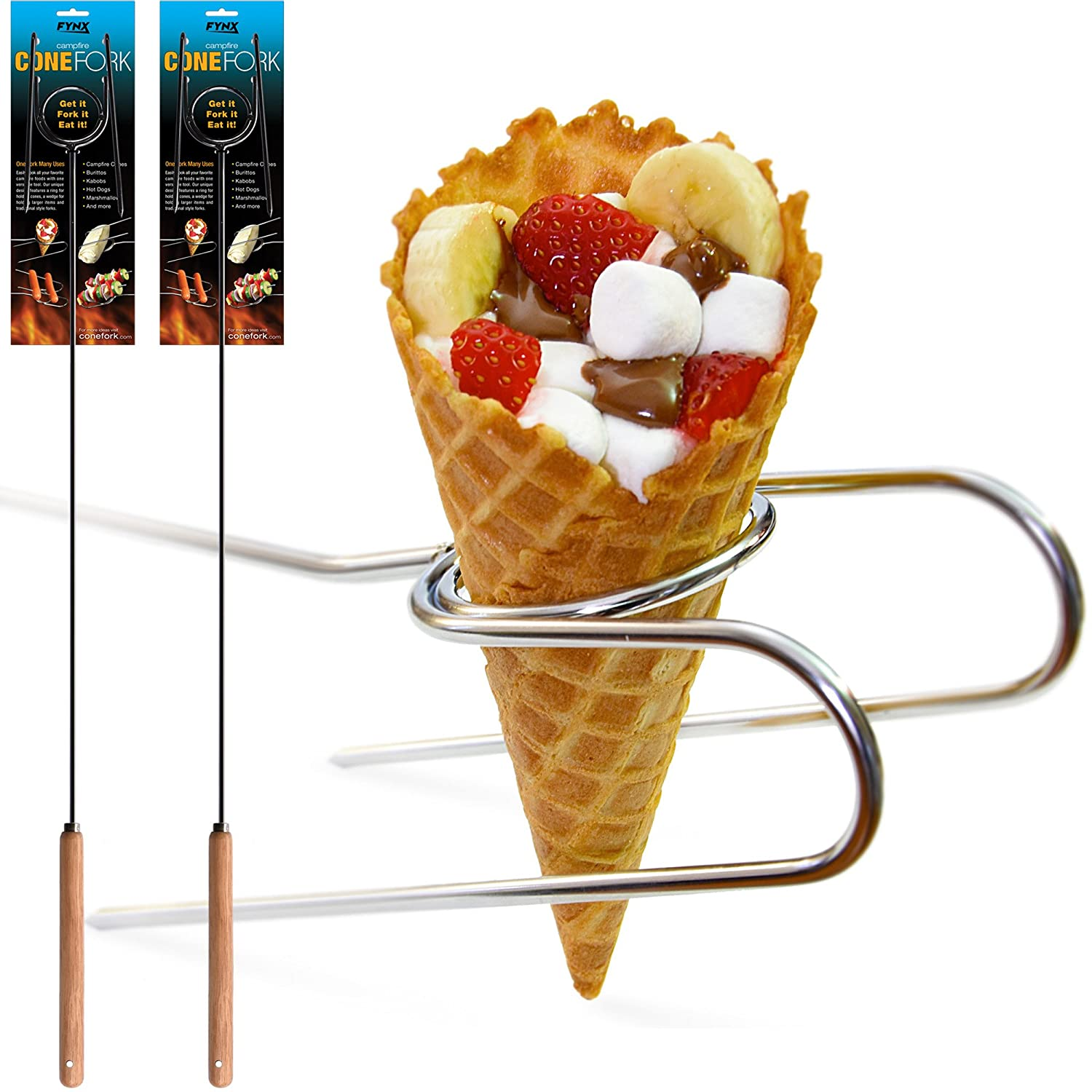 2 Campfire Cone Forks, Ultimate Roasting Stick, Hands Free, Burritos, Kabobs, Corn on the Cob, Hot Dogs, Marshmallows, S'mores and more S'mores and more FYNX