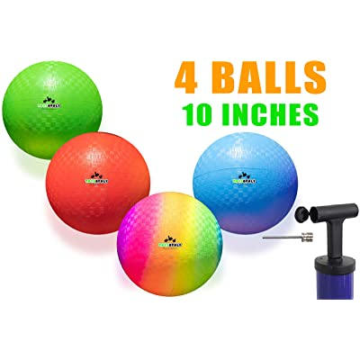 Playground Balls 10 inch Dodgeball (Set of 4) Kickball for Boys Girls Kids Adults - Official Size Bouncy Dodge Ball, Handball, Four Square Picnic School + Free Pump: Sports & Outdoors