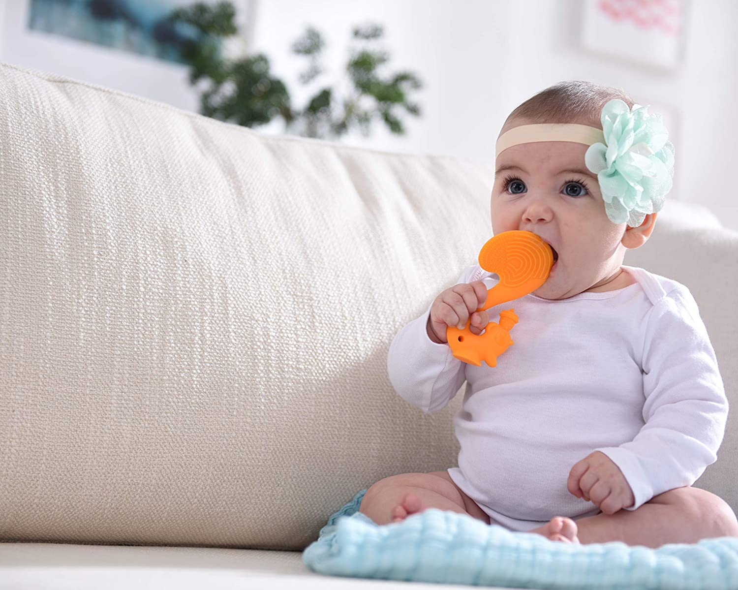 Firm Silicone with Textures to Massage Gum for Babies Already Have a Few Teeth,Orange Mombella Scrat The Squirrel Silicone teether Toy