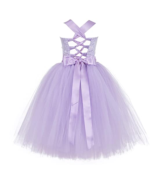 a163a2883d Amazon.com: ekidsbridal Wedding Pageant Tutu Criss-Cross Back Lace Tulle  Flower Girl Dress Tulle Toddler Special Occasion Gown Party 119F: Clothing