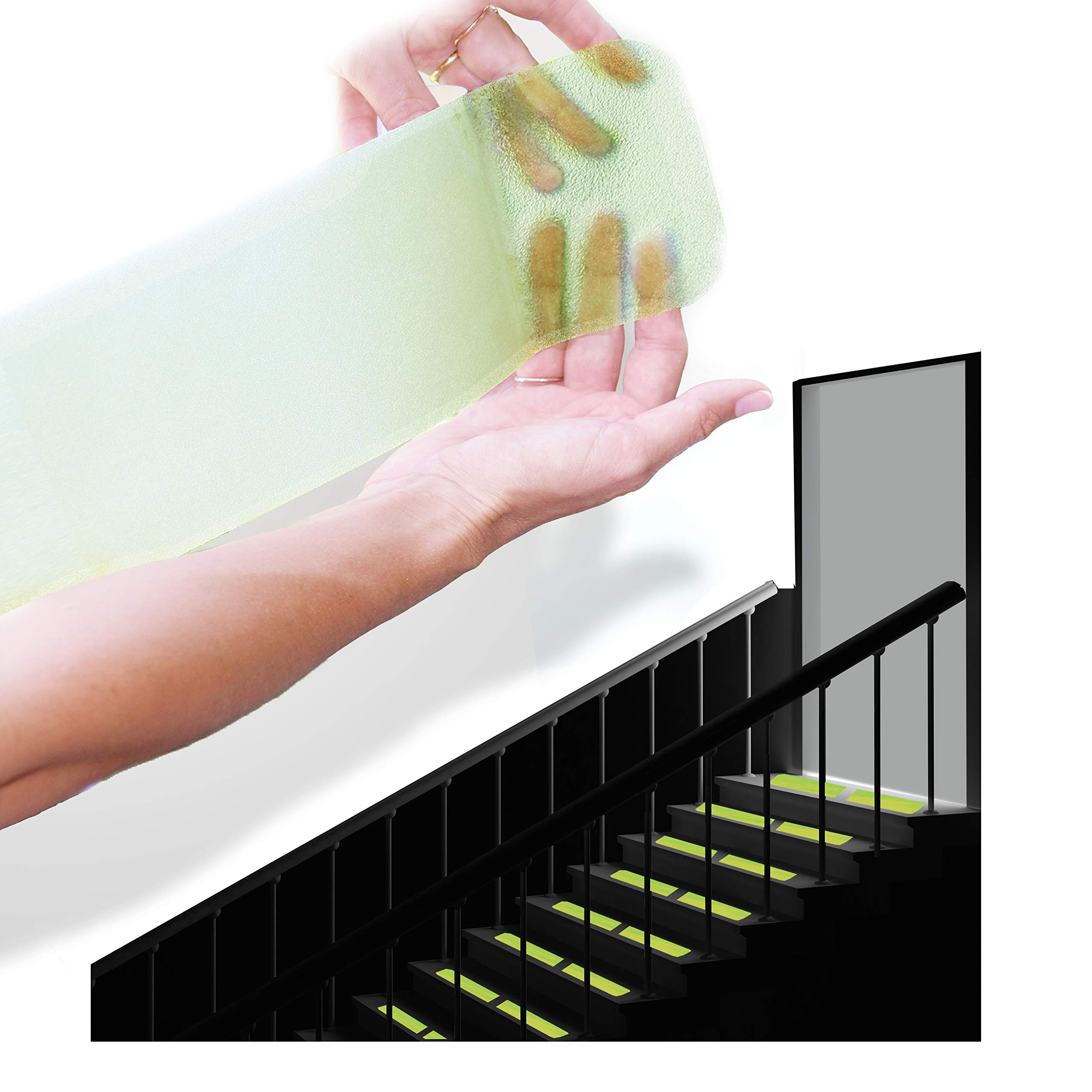 """StepStrips StepTips Anti Slip Tape ''Stair Treads'' Clear & Glow in the Dark For Safety Non Slip Grip 20 Pack 4""""x12"""" Pre Cut Skid Strips Traction Non Abrasive PVC FREE for Bare Feet Kids, Elders & Dogs"""