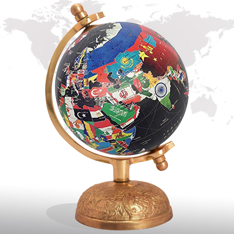 Bola decorativa de metal con diseño de mapamundi giratorio ...