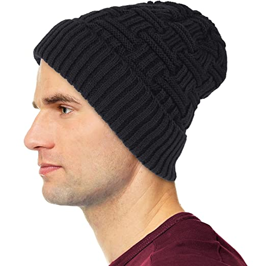 Debra Weitzner Mens Slouchy Beanie Wool Knit Winter Hat Skull Cap with Fur  Lining Black 3925552e9bc2