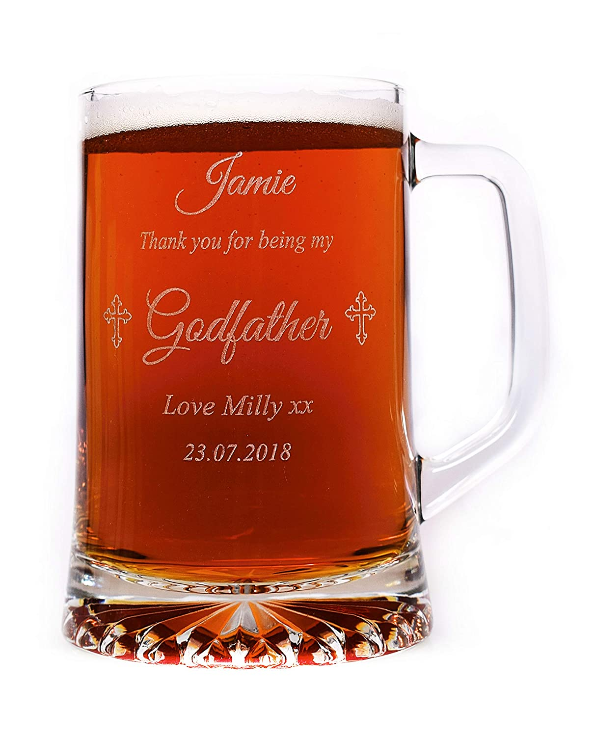 *New Design* Engraved/Personalised Godfather Pint Glass Tankard Gift Cr8 A Gift