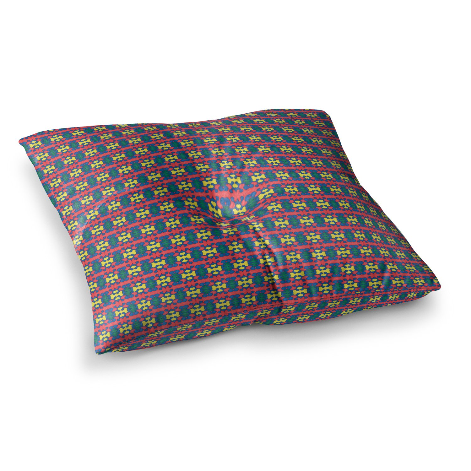 23 x 23 Square Floor Pillow Kess InHouse Empire Ruhl Delilah Red Pattern