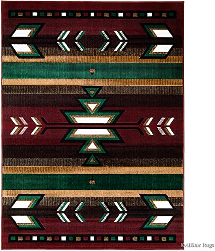 Allstar 8×11 Burgundy and Espresso Southwestern Rectangular Accent Rug with Ivory, Mocha and Hunter Green Aztec Design 7 6 x 10 5