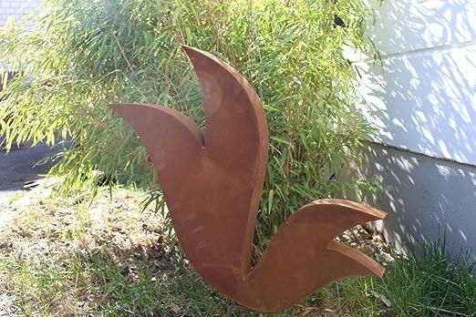 Zen Man para jardín (Acero Inoxidable óxido de escultura de jardín de metal jardín Figure Símbolo de la suerte Jardín Decoración H60 * 65 * 5 cm 031770: Amazon.es: Jardín