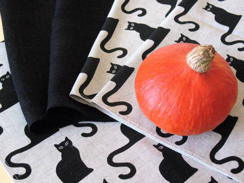 Flax 18x18 size Linen Napkin Halloween Cat Black set of 8
