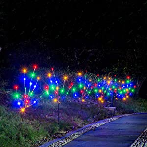 EAMBRITE 3PK Brown Branches with 60 Multicolor LED 30IN Garden Twig Stake Lights Plug in for Pathway,Lawn,Patio,Driveway Decoration Indoor and Outdoor Use (Vase Excluded)