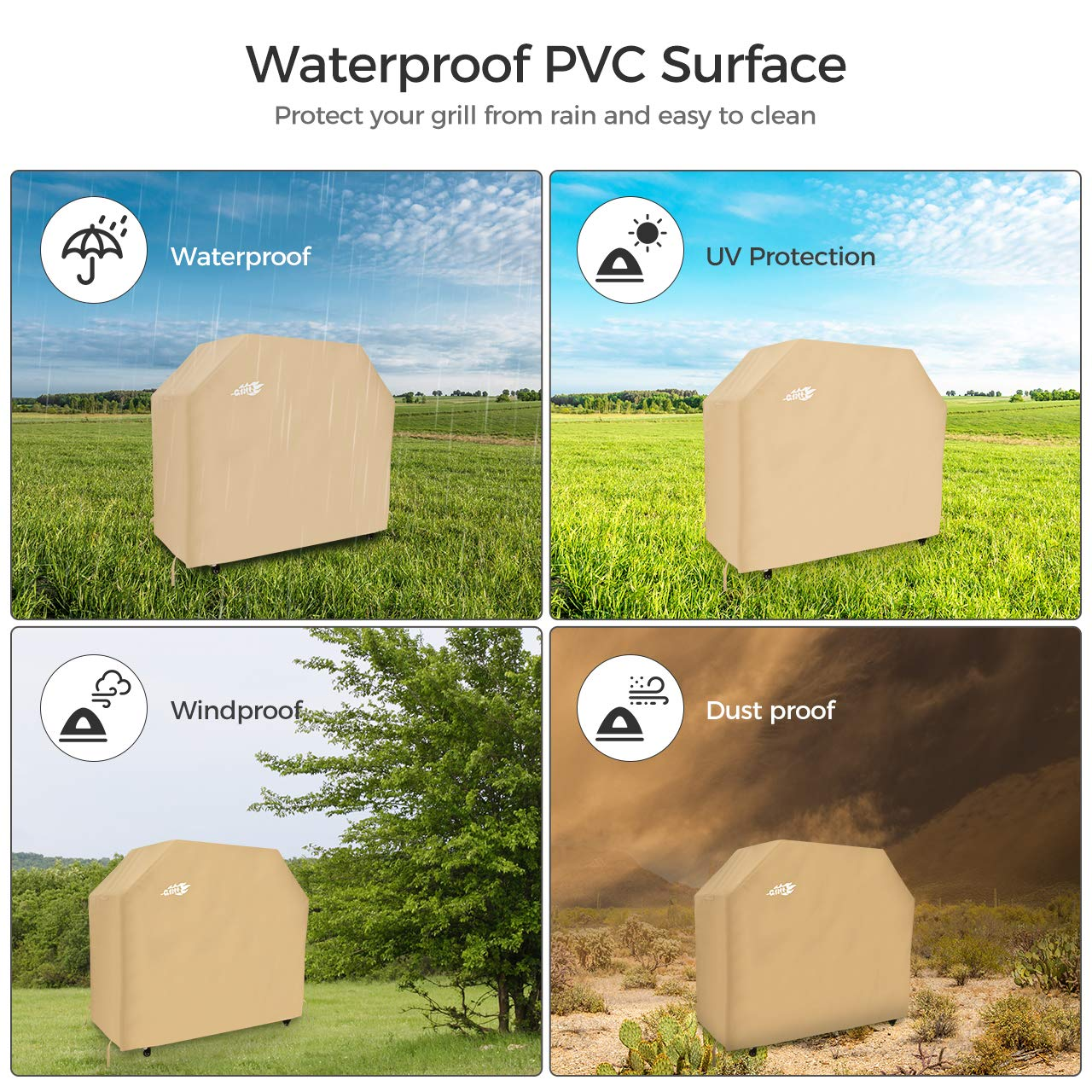 UV /& Water-Resistant OMORC 58-Inch Waterproof Barbecue Covers with PVC Coating Barbecue Cover Lifetime Warranty Upgraded Version Outdoor BBQ Cover 600D Heavy Duty Gas Grill Cover Rip-Proof