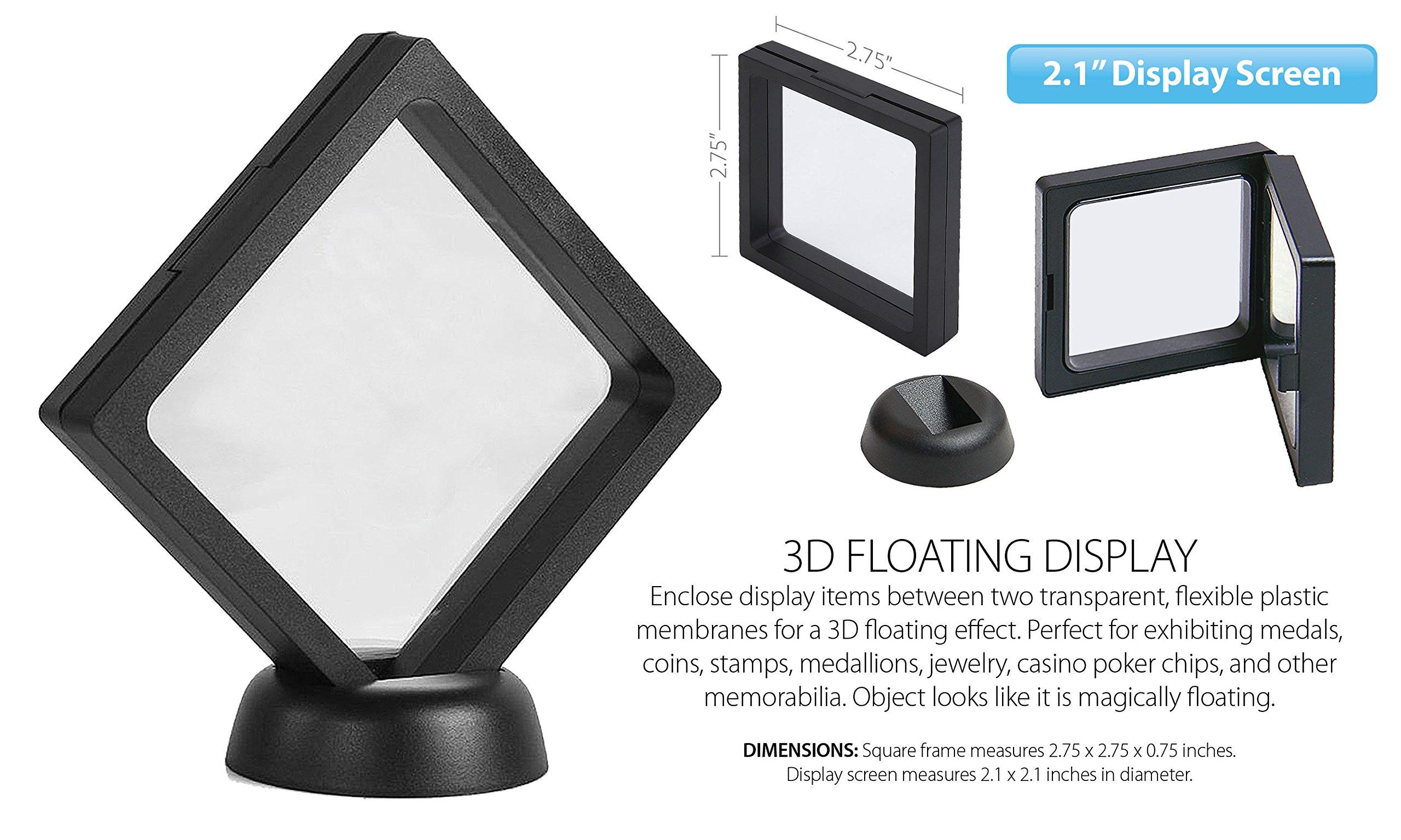 "3D Floating View Coin Display Frame Holder Box Case Medium Black (2.1"") - QTY 2"