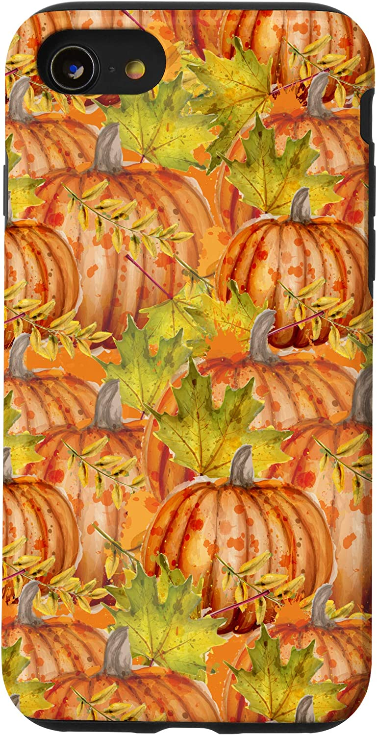 iPhone SE (2020) / 7 / 8 Fall Autumn Pumpkins And Leaves Halloween Decor Design Gift Case