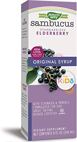 Nature s Way Sambucus for Kids Syrup, Standardized Elderberry, Berry Flavor, 8 Fluid Ounces, Gluten-Free, Kosher Certified Packaging May Vary