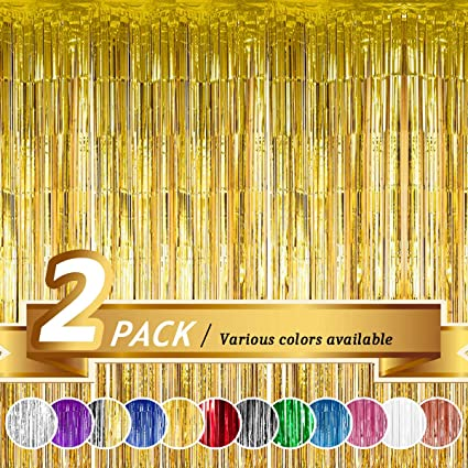 BTSD-home Gold Foil Fringe Curtain Metallic Photo Booth Backdrop Tinsel Door Curtains for Wedding Birthday Bridal Shower Baby Shower Bachelorette Christmas Party Decorations 2 Pack, 6ft x 8ft