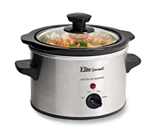 Elite Gourmet MST-250XS Electric Slow Cooker, Adjustable Temp, Entrees, Sauces, Stews & Dips, Dishwasher Glass Lid & Ceramic Pot, 1.5Qt Capacity, Stainless Steel