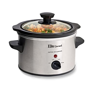 Elite Gourmet MST-250XS Slow Cooker, Temperature Control, Perfect for sauces, Cheese dips, Oatmeal, Dishwasher safe tempered glass lid & stoneware crock, Cool Touch Knob, 1.5 Quart, Stainless Steel
