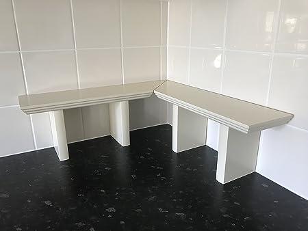 official photos 0f2f5 4f3a1 Dorchi Kitchen Organiser Shelf for Worktop which is Free Standing 25mm  Wooden elegant design Rio by (Corner 50x50cm, Cream)