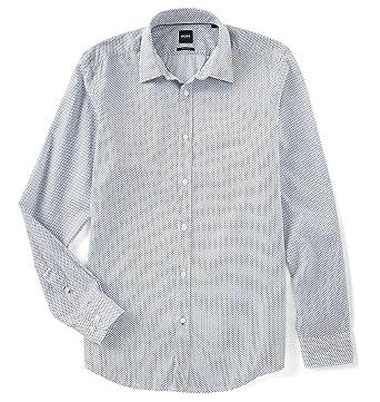d40c67f2 Hugo Boss Men's Long Sleeve Lukas Regular Fit Microprint Button Down Sport  Shirt (White,