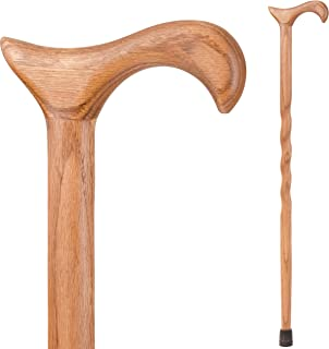 product image for Brazos Walking Cane for Men and Women Handcrafted of Lightweight Wood and made in the USA, Tan Oak, 37 Inches