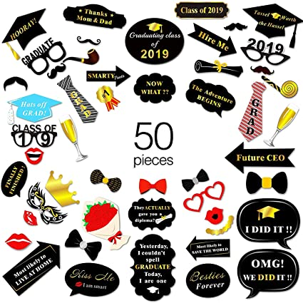 Graduation Photo Booth Props, Vanten 50 Count Great Graduation Decorations  for Grad Party Supplies Class of 2019 Grad Party Props,Large Size,Black and