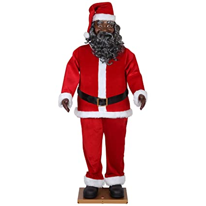 675dc44c16965 Amazon.com  Life Size Animated Dancing African American Black Santa Claus  by Gemmy  Toys   Games