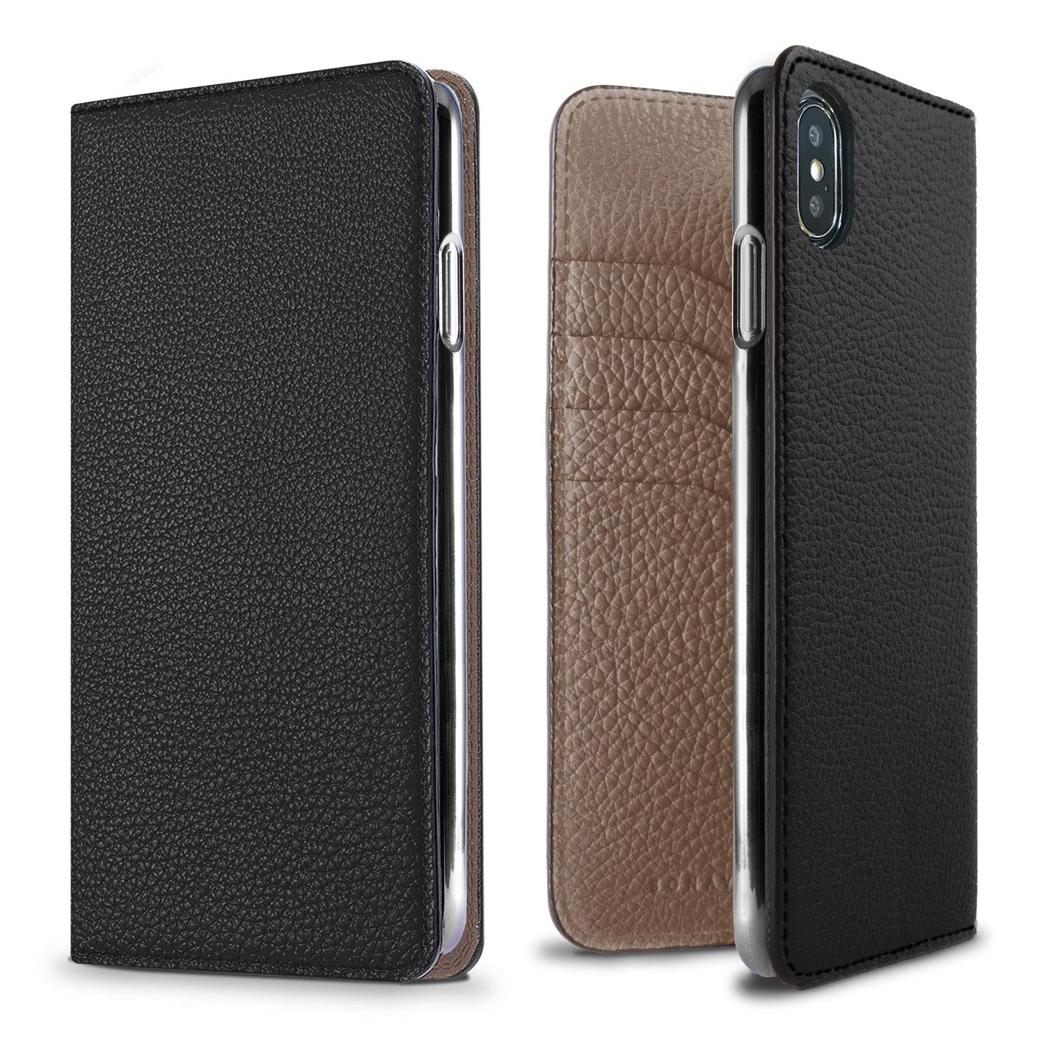 BONAVENTURA Diary Leather Wallet iPhone Case [Compatible with iPhone Xs Max, Black & Etoupe]