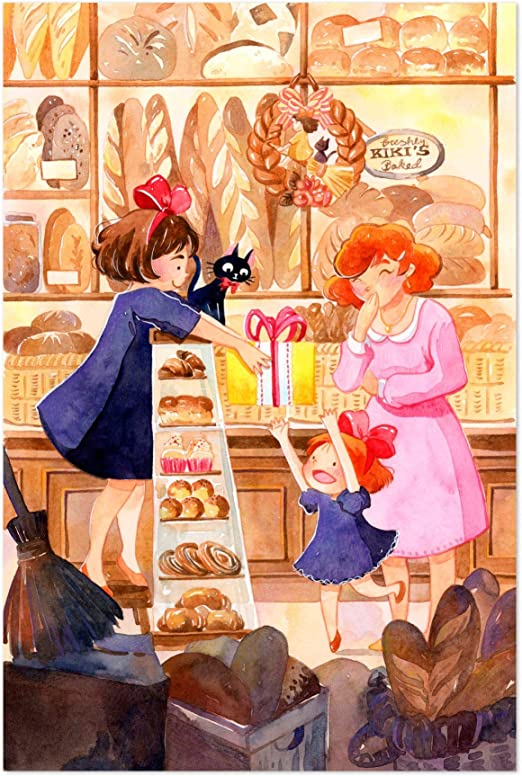 Kiki Jiji Kiki/'s Delivery Service Type 1 Wall Art Ghibli Watercolor UNFRAMED