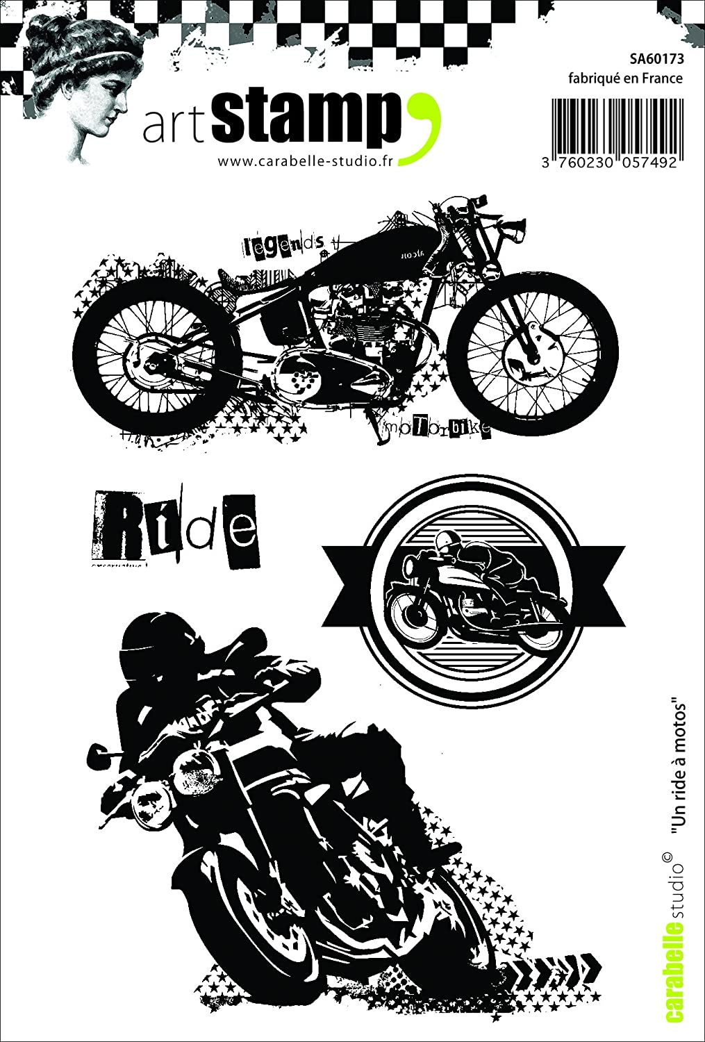Motorcycle Ride Carabelle Studio A6 Unmounted Stamp Set