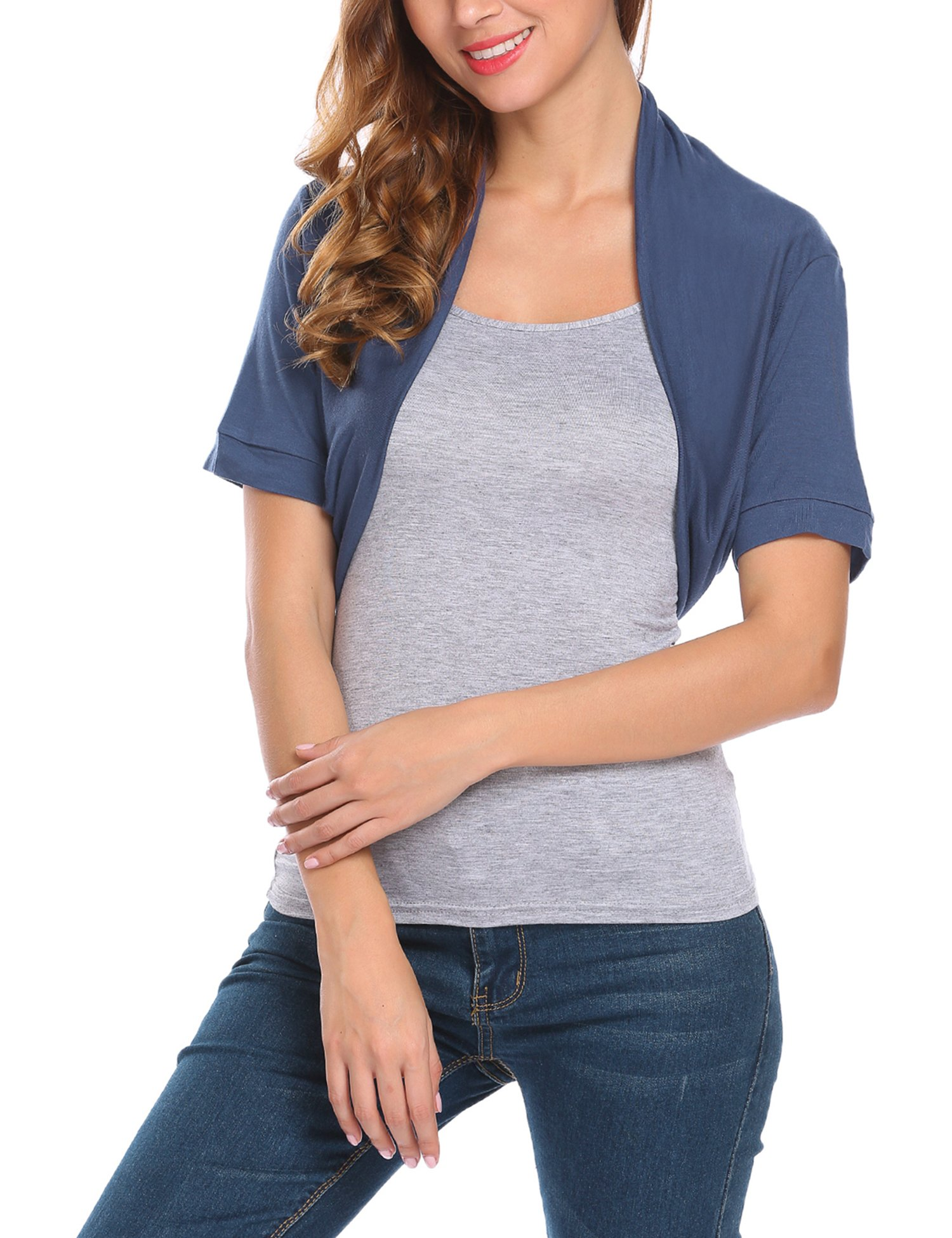 BEAUTYTALK Women's Short Sleeve Crop Top Lightweight Open Cardigan Bolero Shrug,Navy Blue,M