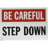 """SmartSign Adhesive Vinyl Label, Legend """"Step Down"""", 7"""" high x 10"""" wide, Black/Red on White"""