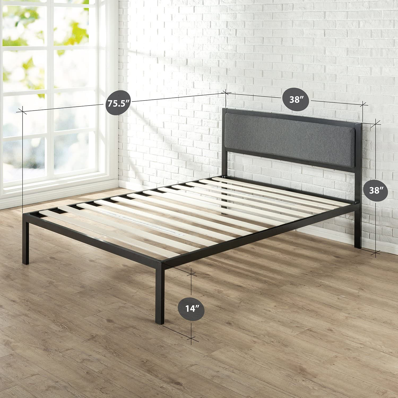 Zinus Korey 14 Inch Platform Metal Bed Frame with Upholstered Headboard Mattress Foundation Wood Slat Support, Twin