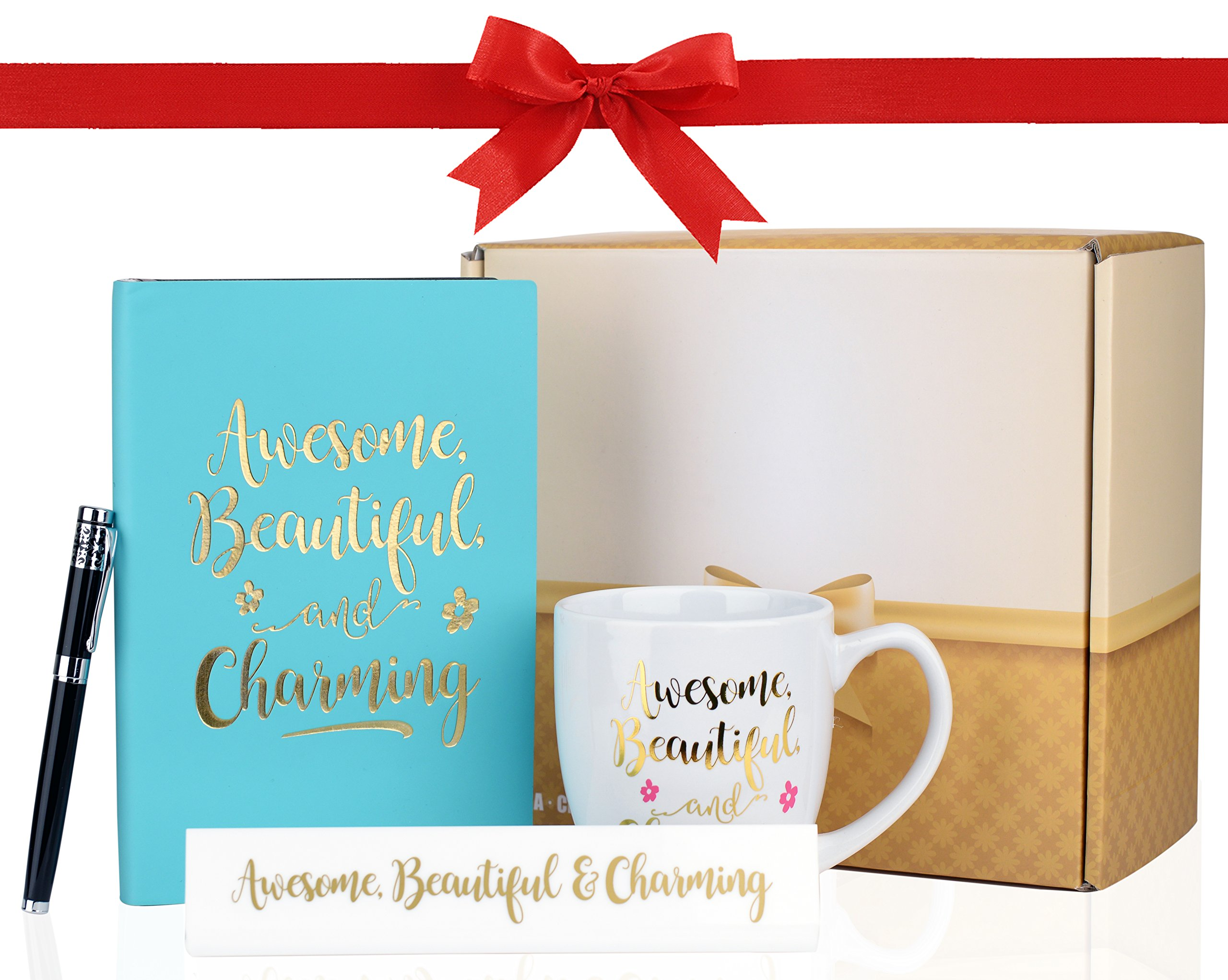 "Inspirational Gift Set - Leather Notebook Journal, Table Sign, Mug and Stylish Executive Pen - ""Awesome, Beautiful & Charming"" Design"