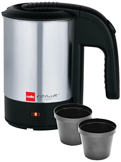 Cello CLO_EK_QB_700_BLKSLVR 0.5-Litre Kettle (Black/Silver)