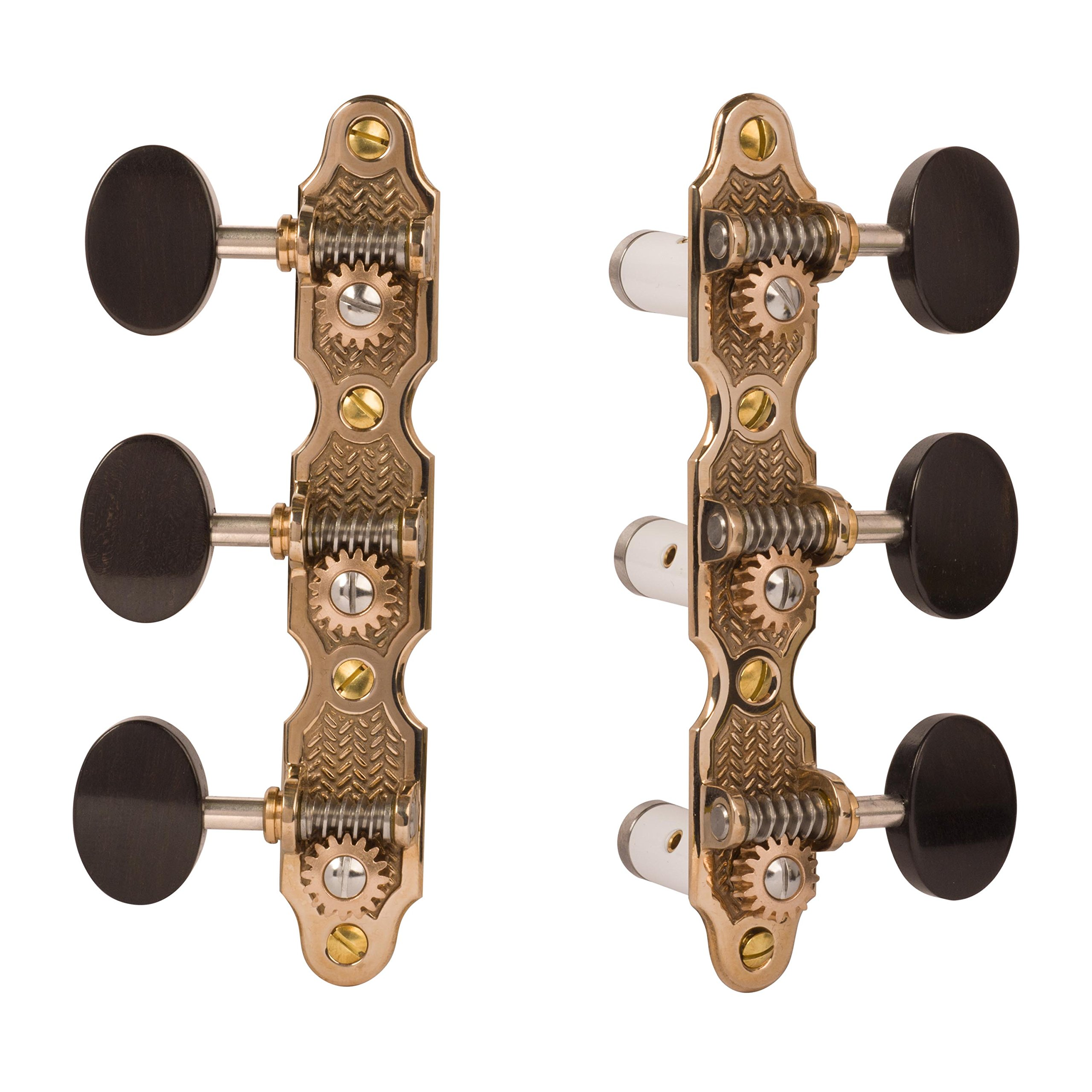 Sloane Classical Guitar Tuning Machines with Stippled Bronze Baseplates and Ebony Knobs