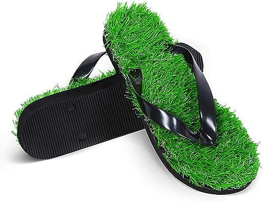 Amazon.com   SATINIOR Grass Flip Flops