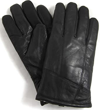 SNUGRUGS Mens Black Luxury Genuine Leather Gloves with Sheepskin Wool Lining Sizes Small to Extra Large