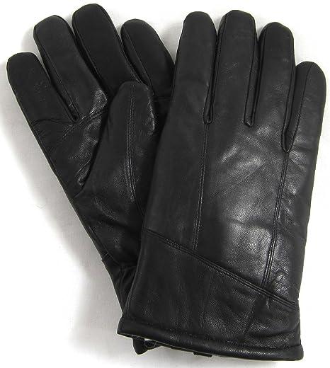 "791105a2332e2 Bushga Mens Black Luxury Genuine Leather Gloves with Sheepskin Wool Lining  - Medium (9"""