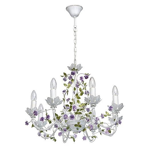 MW-Light 421014308 Lámpara de Techo Con 8 Brazos Flores Velas de Hierro Forjado Color Violeta Verde Blanco 8 x 40W E14