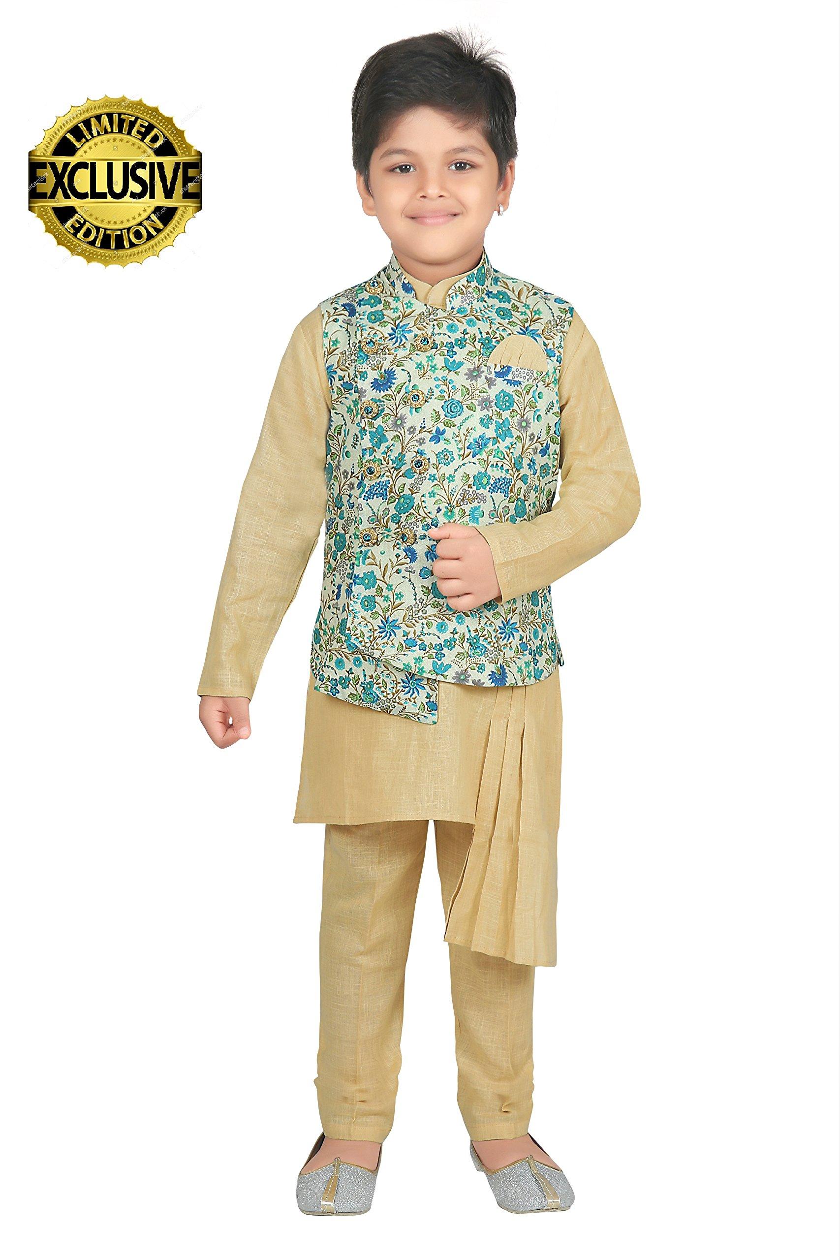 ahhaaaa Kids Indian Ethnic Designer Modi Suit Kurta Pyjama and Waistcoat Set for Boys