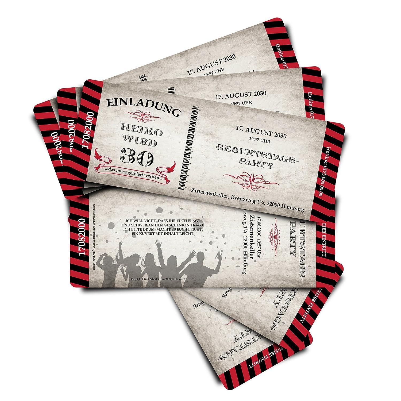40 Geburtstagskarten Geburtstagseinladungen Geburtstagseinladungen Geburtstagseinladungen Einladungskarten  Stripes  - rot - Ticket Eintrittskarte mit Abriss-Coupon B076GSRNDM | eine große Vielfalt  | Online-Shop  | Billig  27ea3e