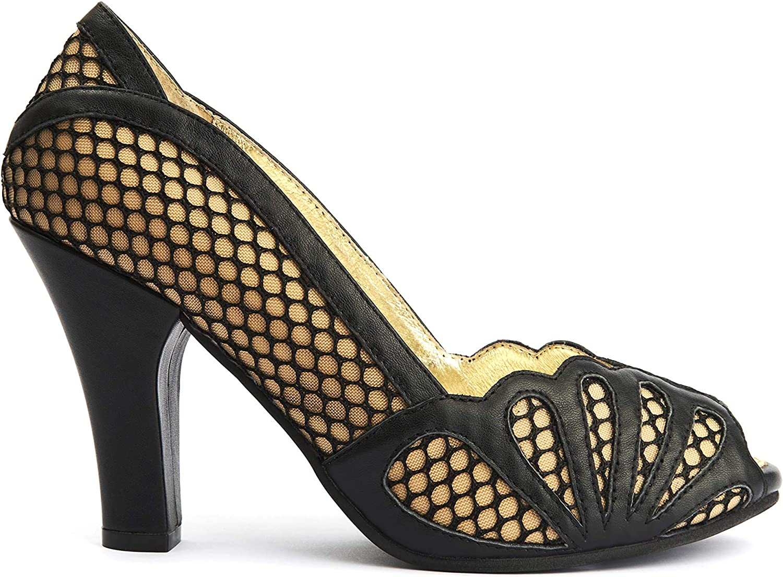 Black Leather Peep Toe Womens High Heels Lola Ramona June Mesh