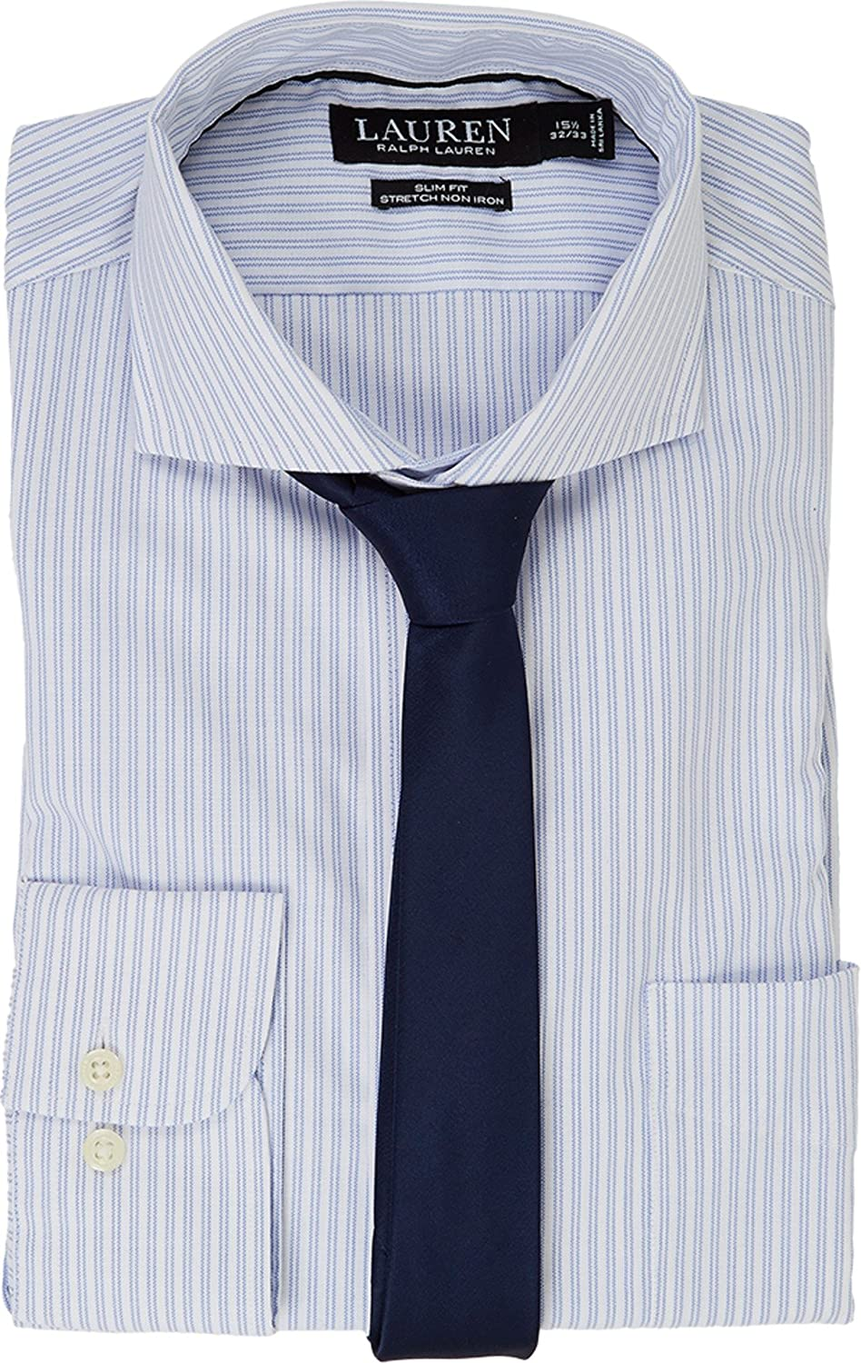 LAUREN RALPH LAUREN Mens Stretch Slim Fit Pinpoint English Spread Collar with Pocket Dress Shirt White//Regent Blue Button-up Shirt