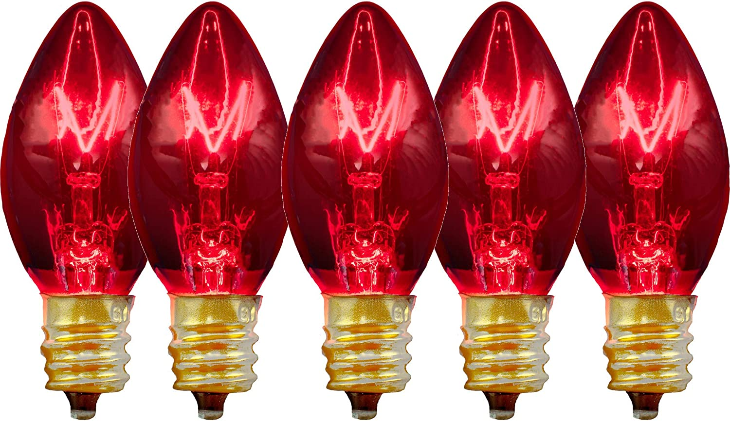 25 C9 Twinkle Red Triple Dipped Transparent Indoor//Outdoor Christmas Bulbs
