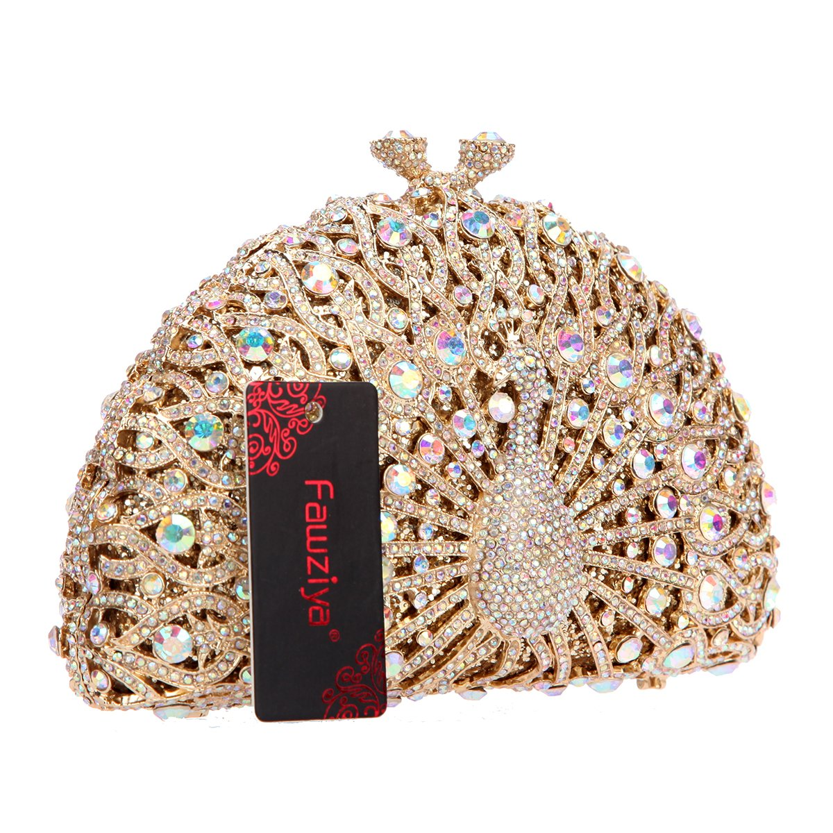 4861944f6b64d Amazon.com: Fawziya Luxury Crystal Clutches For Women Peacock Clutch  Evening Bag-AB Gold: Shoes