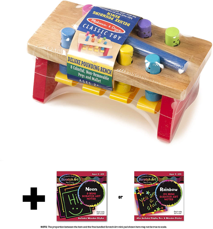 04490 Deluxe Pounding Bench Wooden Play Set /& 1 Melissa /& Doug Scratch Art Mini-Pad Bundle