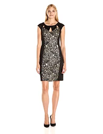Ronni Nicole Women S Extended Cap Sleeve Cut Out Neck Lace