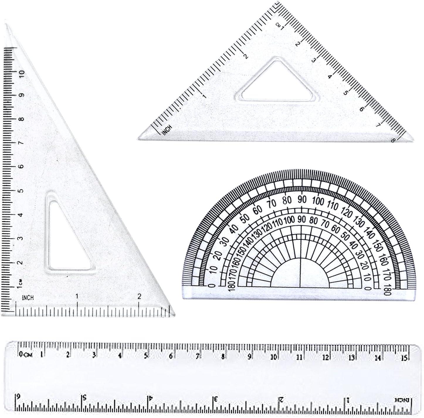 Regla Juego,4pcs Reglas de Plastico Transparente Herramienta de Geometría Matemática:Escuadra, Cartabón, Regla y Transportador