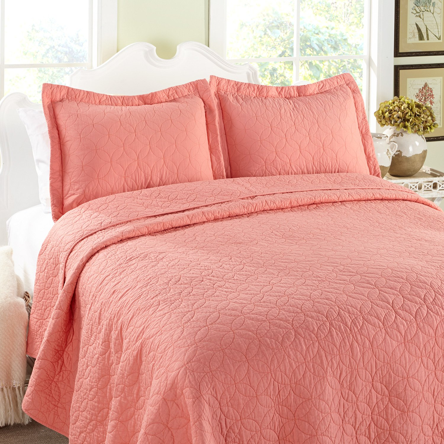 Amazon Laura Ashley Coral King Quilt Set Home & Kitchen