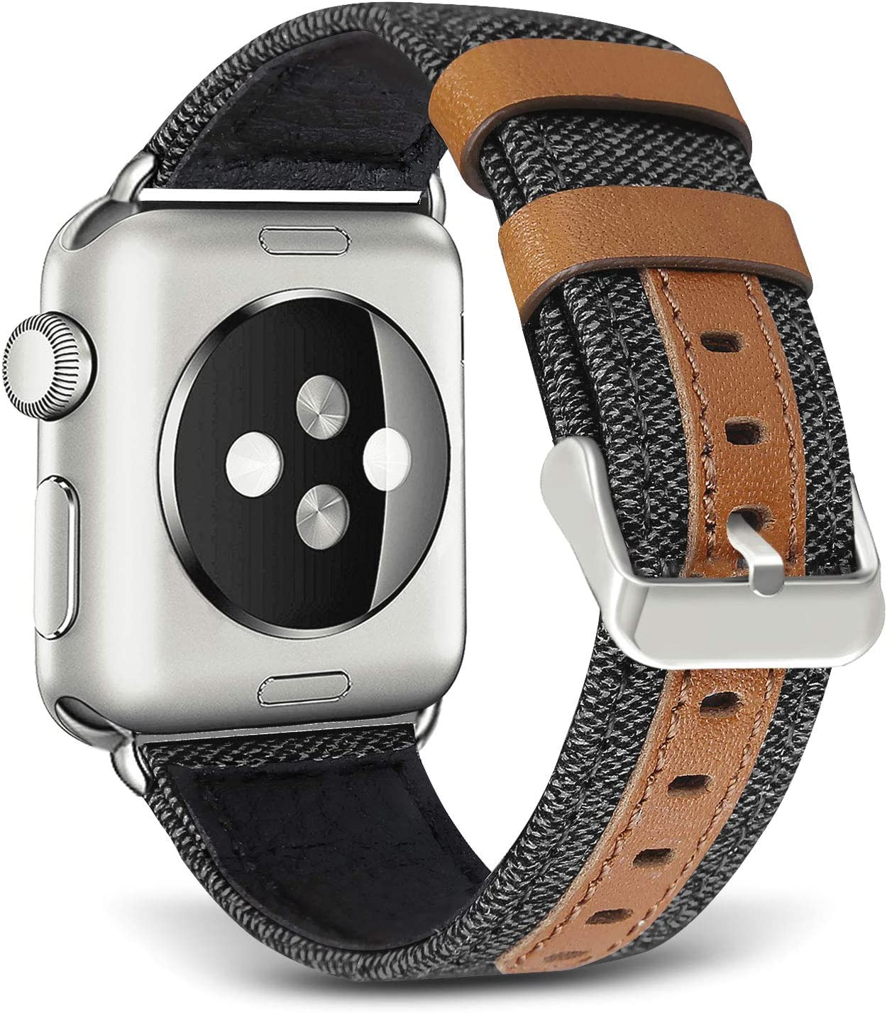 SKYLET Compatible with Apple Watch Bands 44mm 42mm 40mm 38mm Leather Bands, Canvas Fabric Soft Wristbands Compatible with Apple Watch Series 6/5/4/3/2/1/se Men Women Black